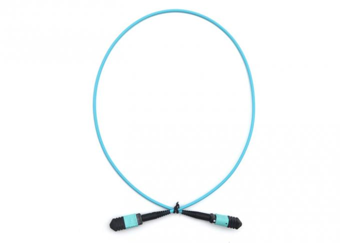 FTTH Telecom MPO Patch Cord Blue 8 Core 12 Core Fiber Optic Cable APC Polishing