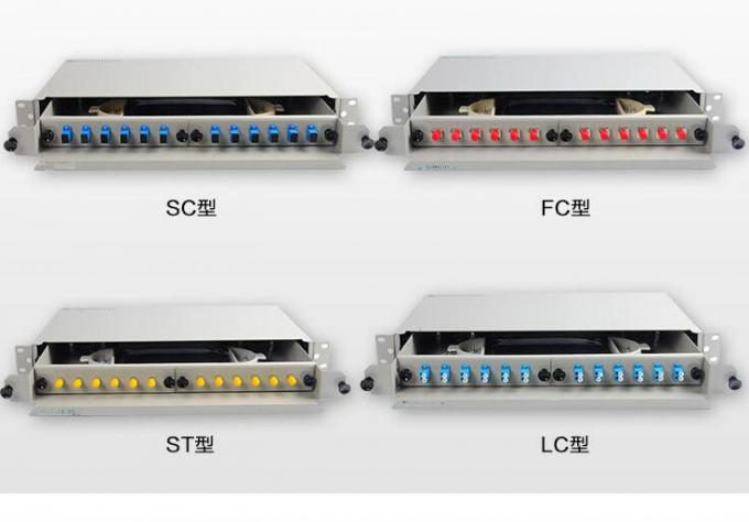 SC Fiber Optic Patch Panel 12 Port 1U Single Mode ODF Fiber Termination Panel