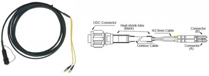 ODC Connectors Fiber Optic Patch Cord 2 Core Waterproof  For Telecommunications