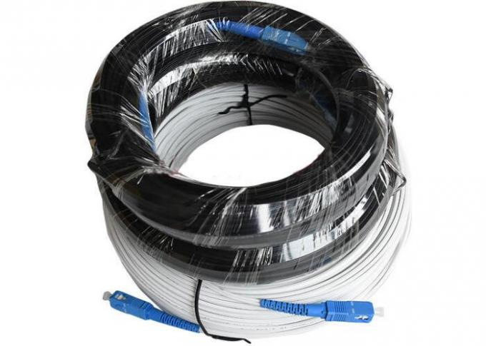 200m Outdoor Fiber Optic Patch Cord SC Flat FTTH Drop Cable With Messager