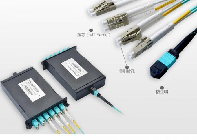 40G -QSFP Mould MPO Fiber Connector , 2M Multimode OM3 MPO Breakout Cable