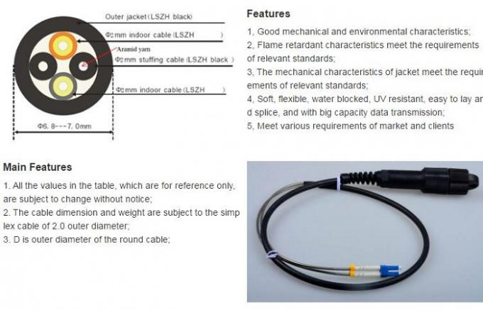 PDLC Connector Optical Fiber Patch Cord IP67 Outdoor With Nickel Plated Brass Housing