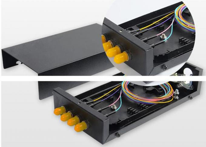 ST SM Metal Fibre Distribution Frame , 4 Port 4 Core Optical Fiber Termination Box