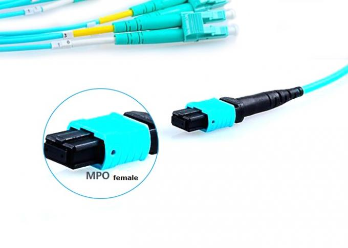 Fiber Optical MTP MPO Patch Cable , Blue 8 Core Multimode Fiber Optic Cable