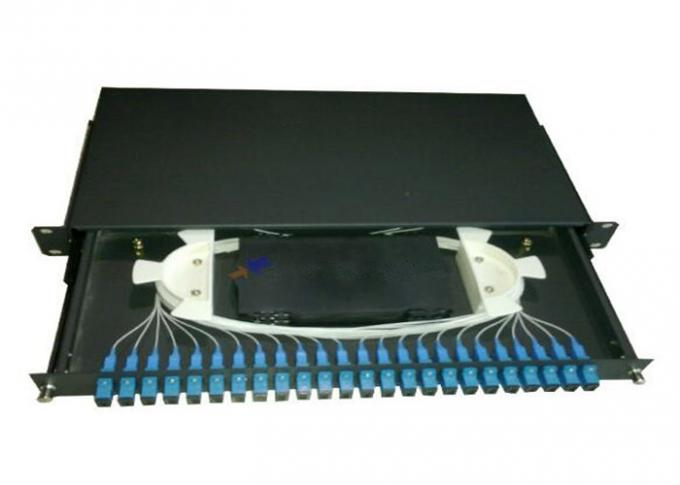 "SC 24 port rack mount patch panel 1U 19"" Fiber Optic Joint Closure Drawer Type"
