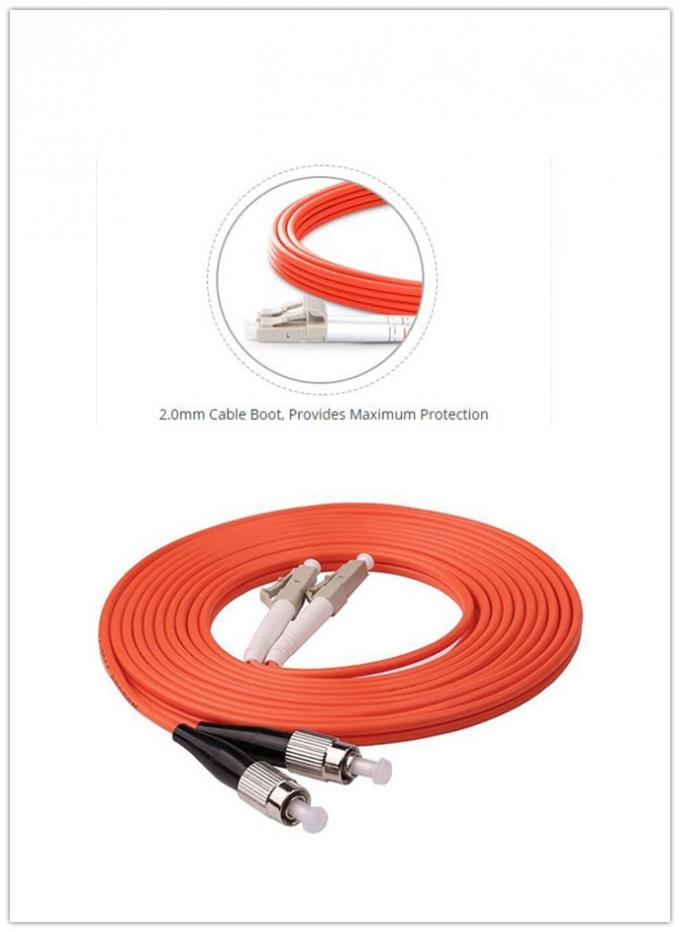 Durable Multimode Fiber Optic Cable 1m 3ft LC UPC To FC UPC Duplex 2.0mm PVC OM1