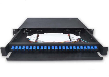 China 24 Port Fiber Optic Patch Panel 1U 19 Inch  SC / LC Connector Drawer With Guild Rail supplier