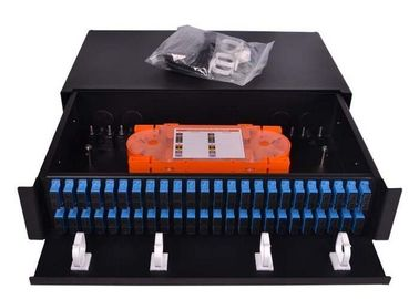 China Slim 1U Fiber Optic Patch Panel 96 Cores Sliding Open SC Type For LAN / WAN supplier