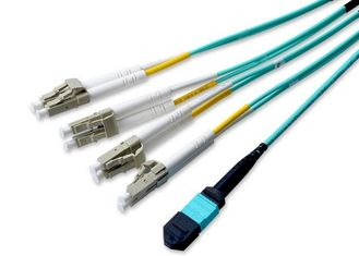 China 40G -QSFP Mould MPO Fiber Connector , 2M Multimode OM3 MPO Breakout Cable supplier