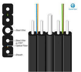 China 1 Fiber Singlemode 9/125 OS2, Metal Strength Member, LSZH Self-supporting FTTH Drop Cable GJYXCH supplier