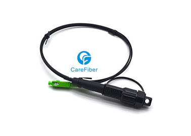 China Customized Length Fiber Optic Patch Cord Mini SC APC Waterproof Connector Black supplier