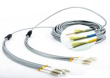 China FO Sensor 6 Core Multimode Fiber Optic Cable , Gray LC - LC Fiber Optic Armored Cable factory