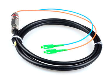 China 5M Waterproof SC / APC Pigtail , G652D 2 Core Single Mode Fiber Optic Cable factory