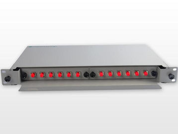 China Rack Mount Fiber Patch Panel 12 Port 19′′ 1U FC Adapter Singlemode Metal Alloy factory