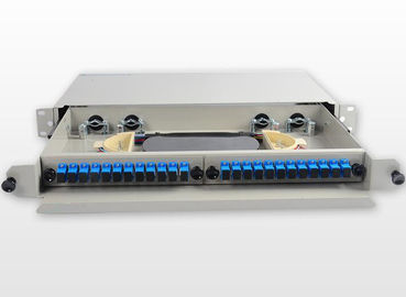 China SC / UPC Metal Fiber Rack Mount Patch Panel 24 Port 24 Core Fiber Distribution Unit factory