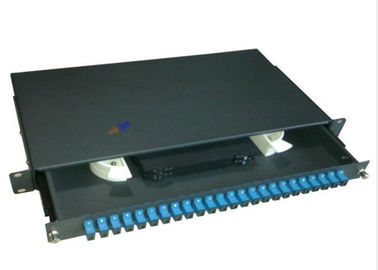 "China SC 24 port rack mount patch panel 1U 19"" Fiber Optic Joint Closure Drawer Type factory"