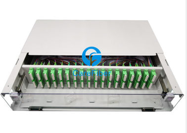 19 inch 2U Rack Mount 36 port 144 cores fiber optic patch panel with Transparent cover and front door